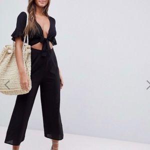 brand new linen mix asos Jumpsuit cut out black